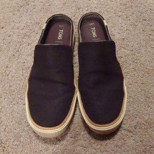 Tom's Black Canvas Slip On Loafer